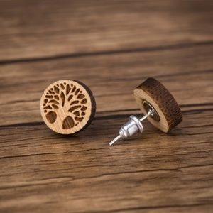 Urban Outfitters Jewelry - Urban Outfitters Vintage Tree Hugger Wood Earrings